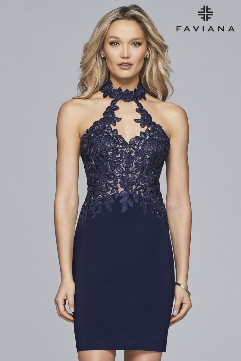 Faviana 10156 Is A Short Jersey Halter Cocktail Dress With A Lace Applique Bodice Front Keyhole Choker Collar Homecoming Dresses Fitted Prom Dresses Dresses [ 1200 x 800 Pixel ]