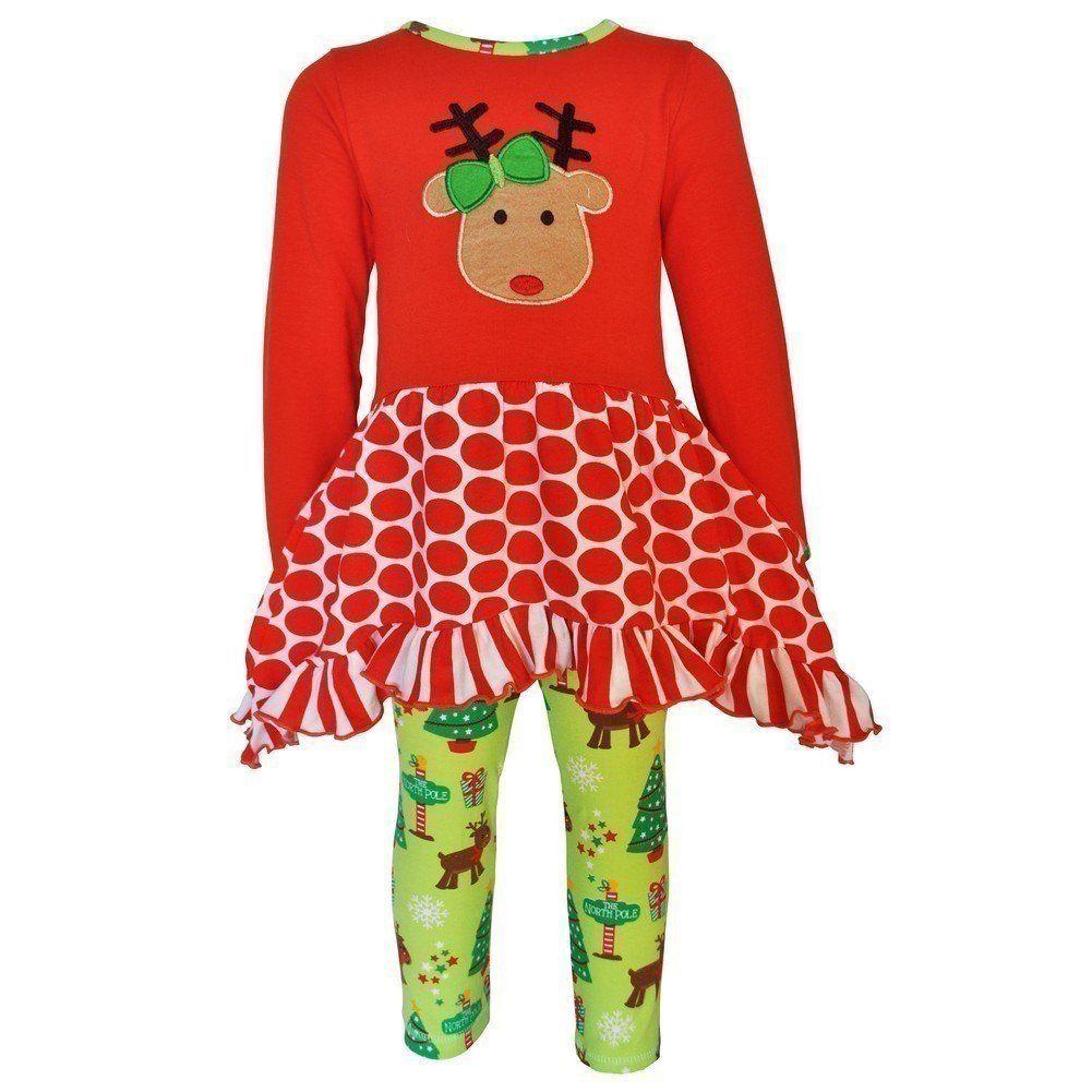 AnnLoren Girls Christmas Owl Shirt and Pants Set  2//3T 4//5T