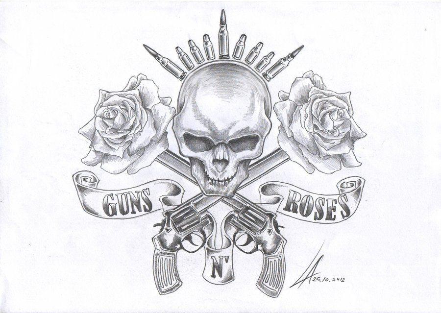 Guns N Roses Stencils Guns And Hearts Drawings Tattoos And