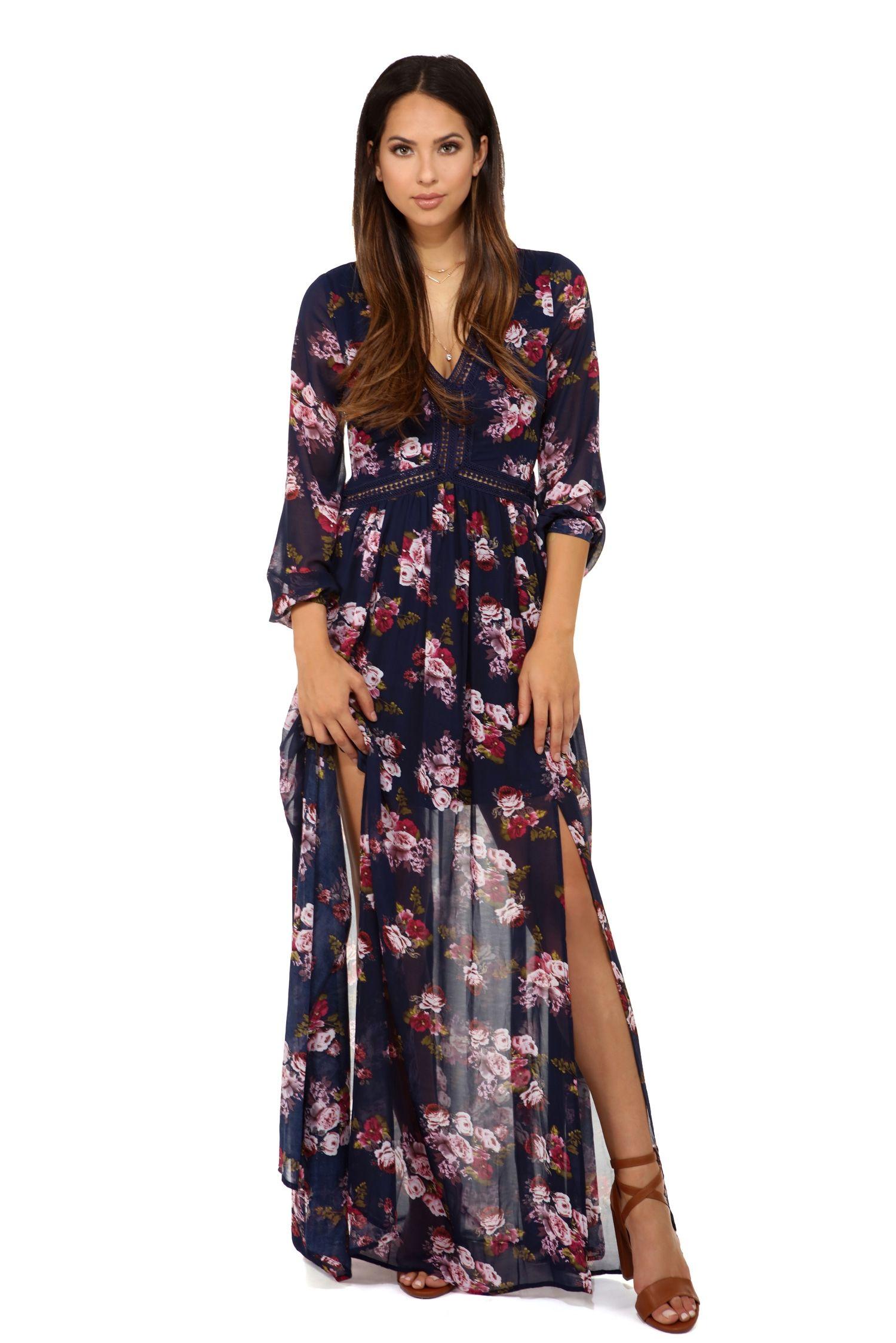 FINAL SALE- Stephanie Navy Floral Chiffon Dress   Floral chiffon ...