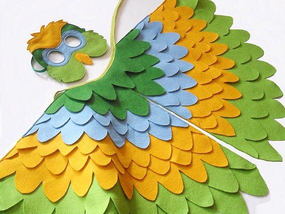 Papagei Kostum Fur Kinder Kinder Flugel Und Maske Von Bhbkidstyle