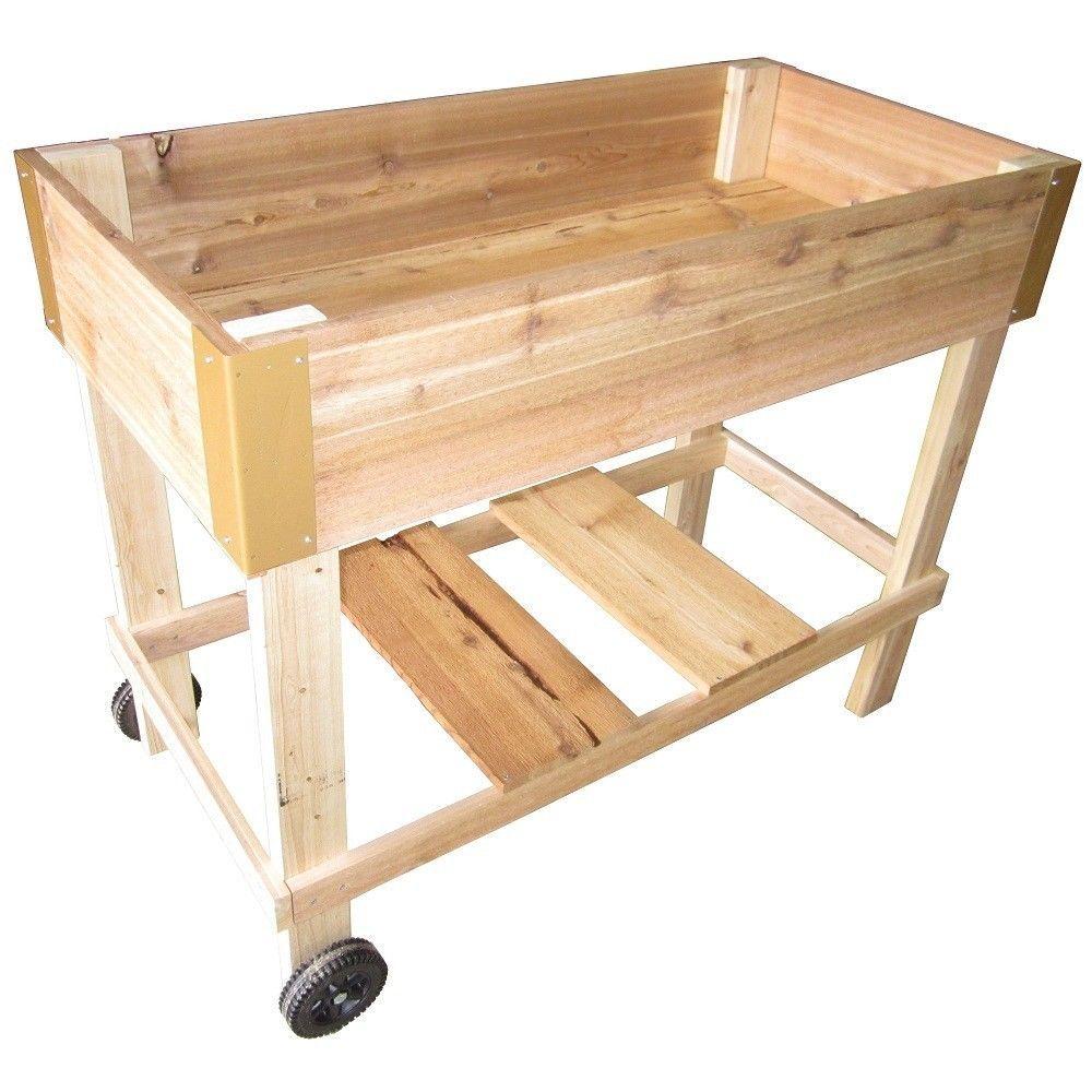 Raised Patio Garden Box Bed Planter W Wheels Cedar