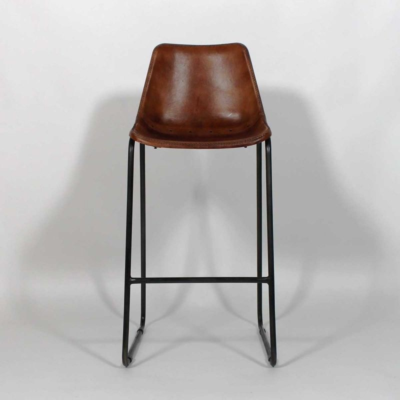 Chaise de bar Industrielle cuir et métal