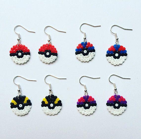 Pokeball Hama Bead Earrings Pokemon
