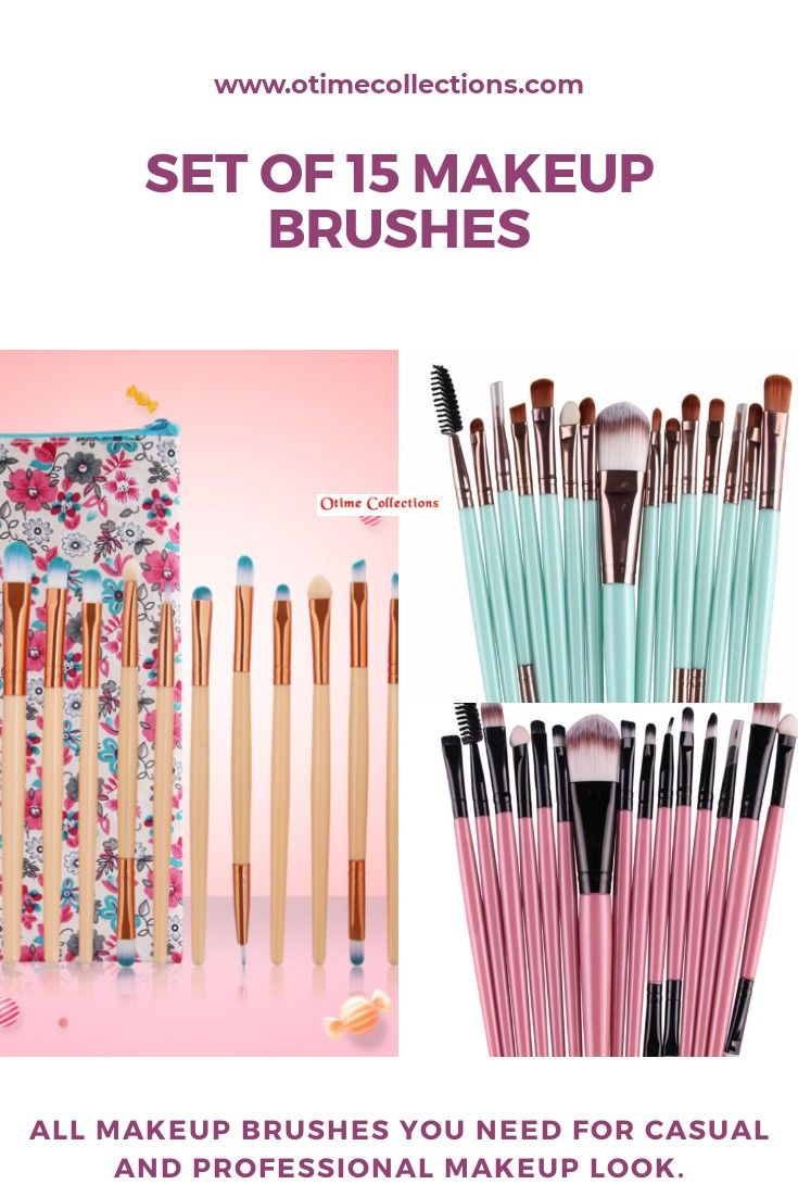Buy our 15 Set of makeup brushes. It has all the makeup brushes you need for an amazing look.  #makeupbrush #makeup #makeupbrushesset #makeuplook #casualmakeup #professionalmakeup #powderbrush #eyebrush #lipbrush #doublebrush #detailbrush #eyebrowbrush #eyelinerbrush
