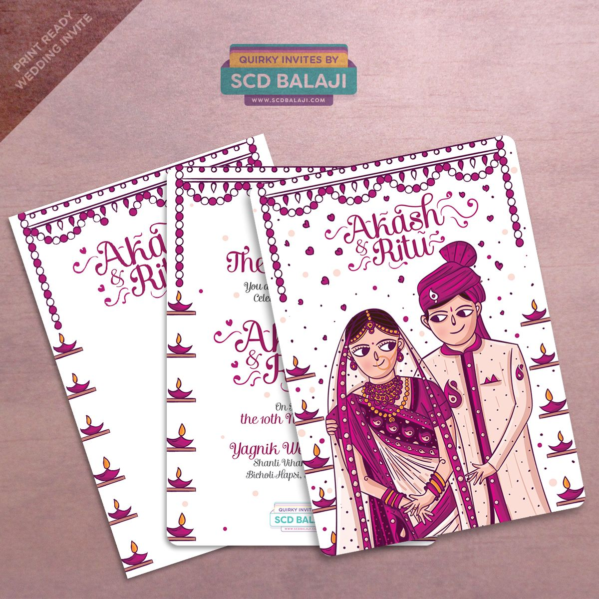 Gujarati Wedding Invitation And Envelope Cover Illustrated And