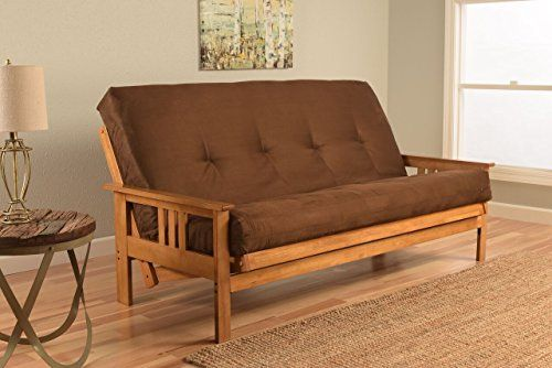 Sectional Sofa Monterey Full Size Futon Sofa Bed Butternut Wood Frame Suede Innerspring Mattress Chocolate