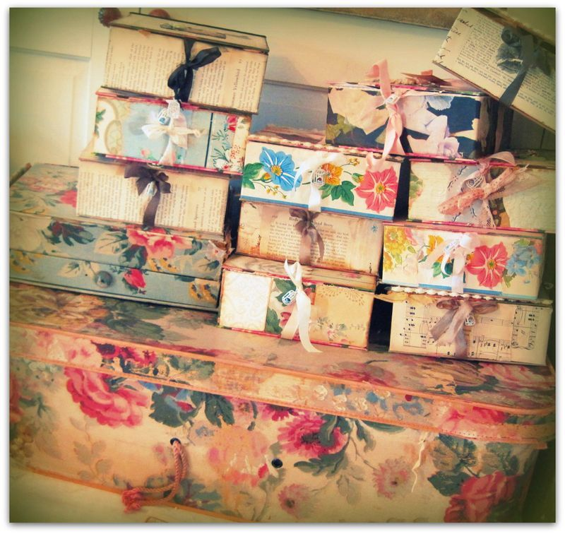 On The Road To Paper Cowgirls Vintage Wallpaper Fabric Covered Boxes Paper Crafts
