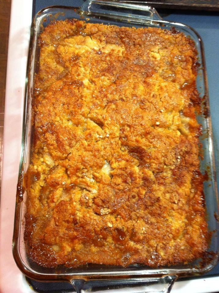 Caramel apple cobbler 1 box yellow cake mix 2 cans apple pie filling 1 jar caramel 1 stick butter Butter 9x13 pan Pour apple pie filling in On top put the DRY cake mix Then drizzle caramel over. Pour melted butter throughout. Bake 350 for 45 minutes