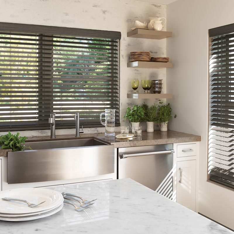 Faux Wood Blinds In 2021 Kitchen Window Coverings Kitchen Window Design Kitchen Blinds Above Sink