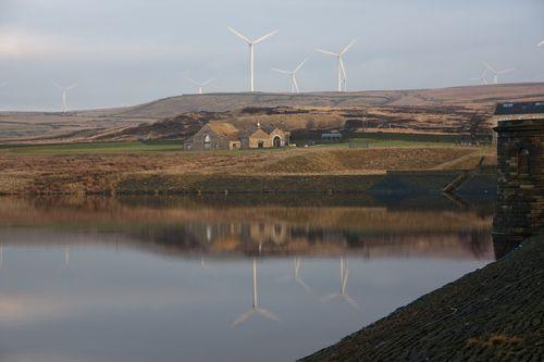 Scout Moor Wind Farm from Ashworth Reservoir Dam