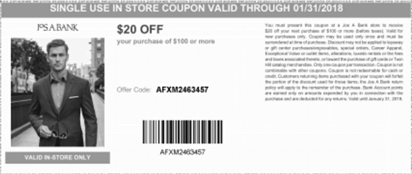 photograph relating to Jos a Bank Printable Coupon named Seek the services of this printable coupon towards Goodshop in the direction of attain $20 off $100+