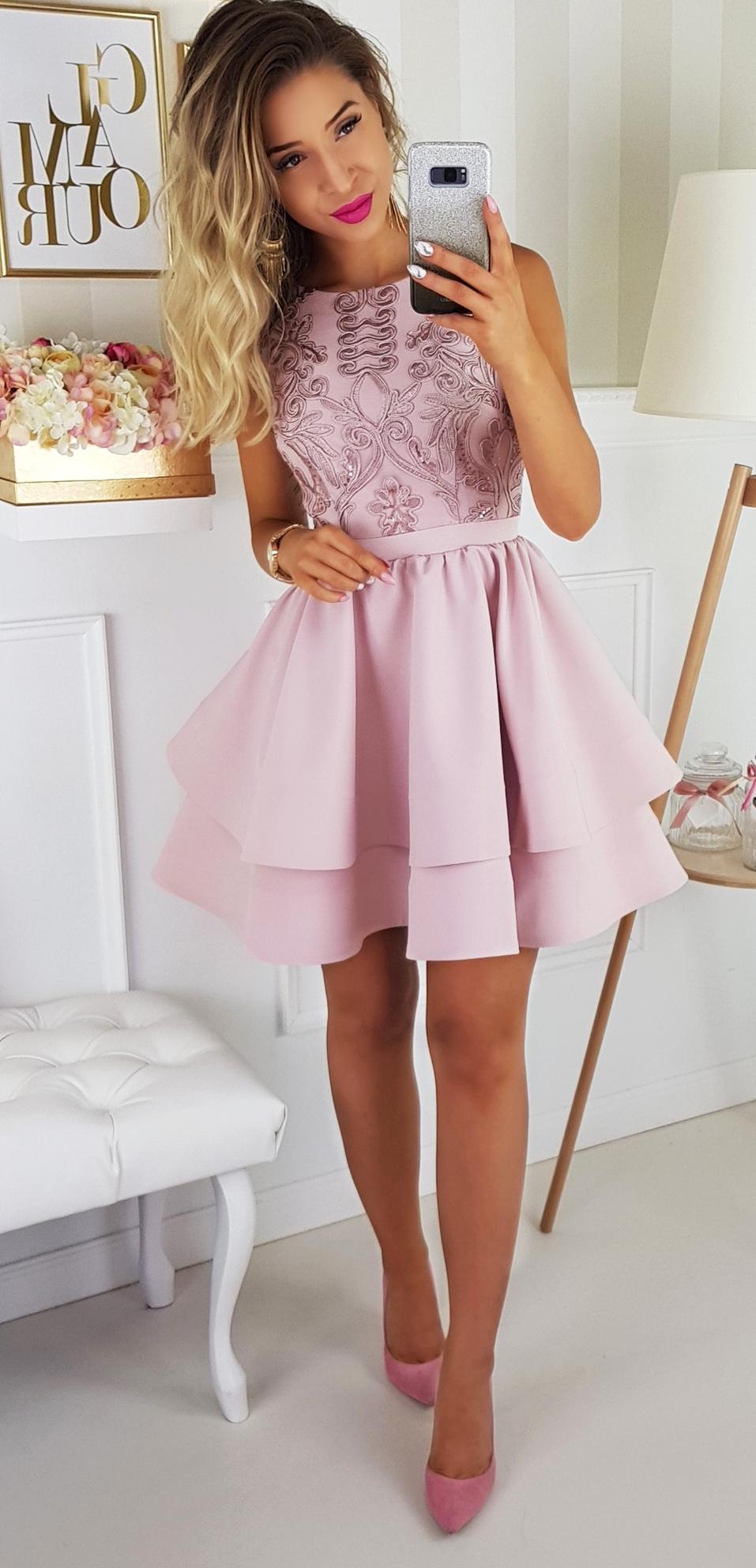 Jasmin Sukienka Brudny Roz Rozkloszowana Spodnica Polska Marka Odziezowa Dresses For Teens Dresses Fashion