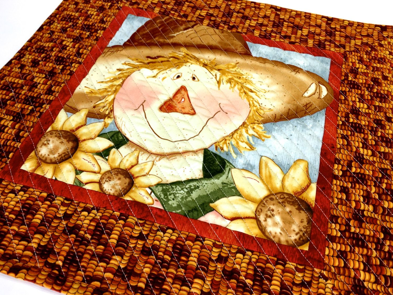 Scarecrow Quilted Wall Hanging - Fiber Art Table Topper - Halloween ...