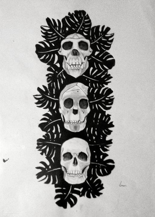 Three Skulls - Laura Browell - Paintings & Prints Science & Technology Anthropology &… | ArtPal thumbnail