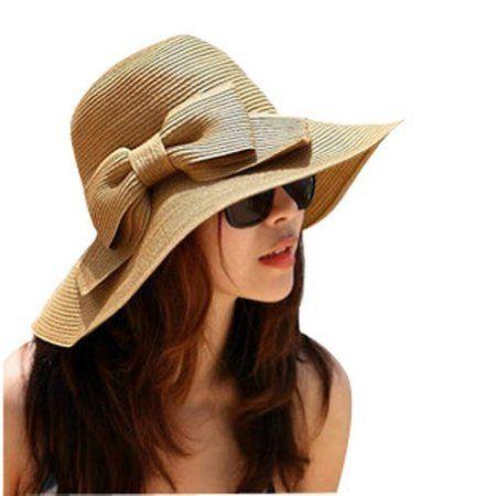 2cfdd9fb51b3c Buy Fashion Style Floppy Wide Brimmed Summer Beach Bow Hat Women s Straw Sun  Hat Cap at Walmart.com