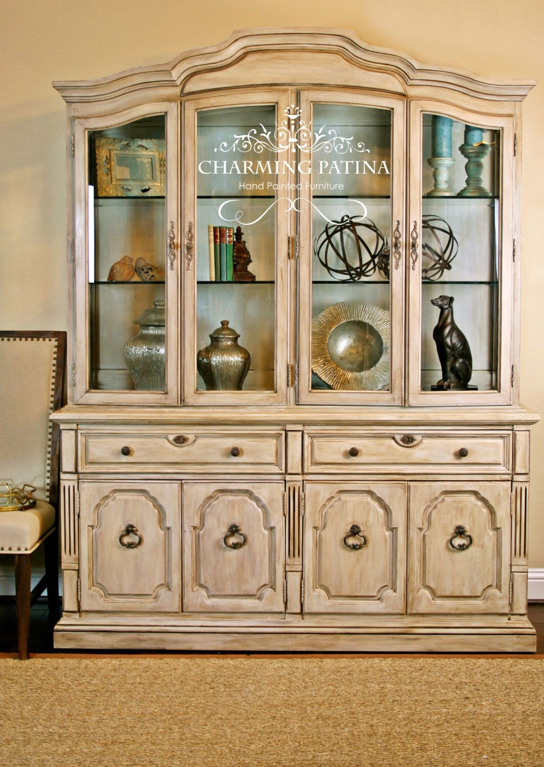 French country china cabinets - Hand Painted French Provincial Thomasville China Cabinet White Cream French Country Shabby