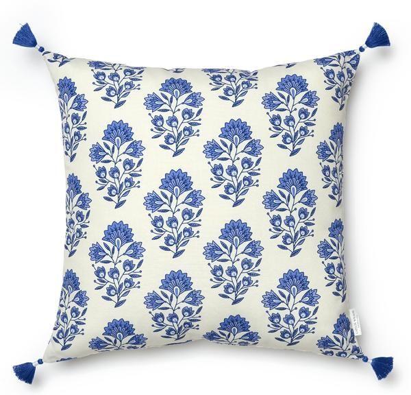 Santorini Block Print Pillow Indoor Outdoor Block Printed Pillows Printed Pillow Throw Pillows