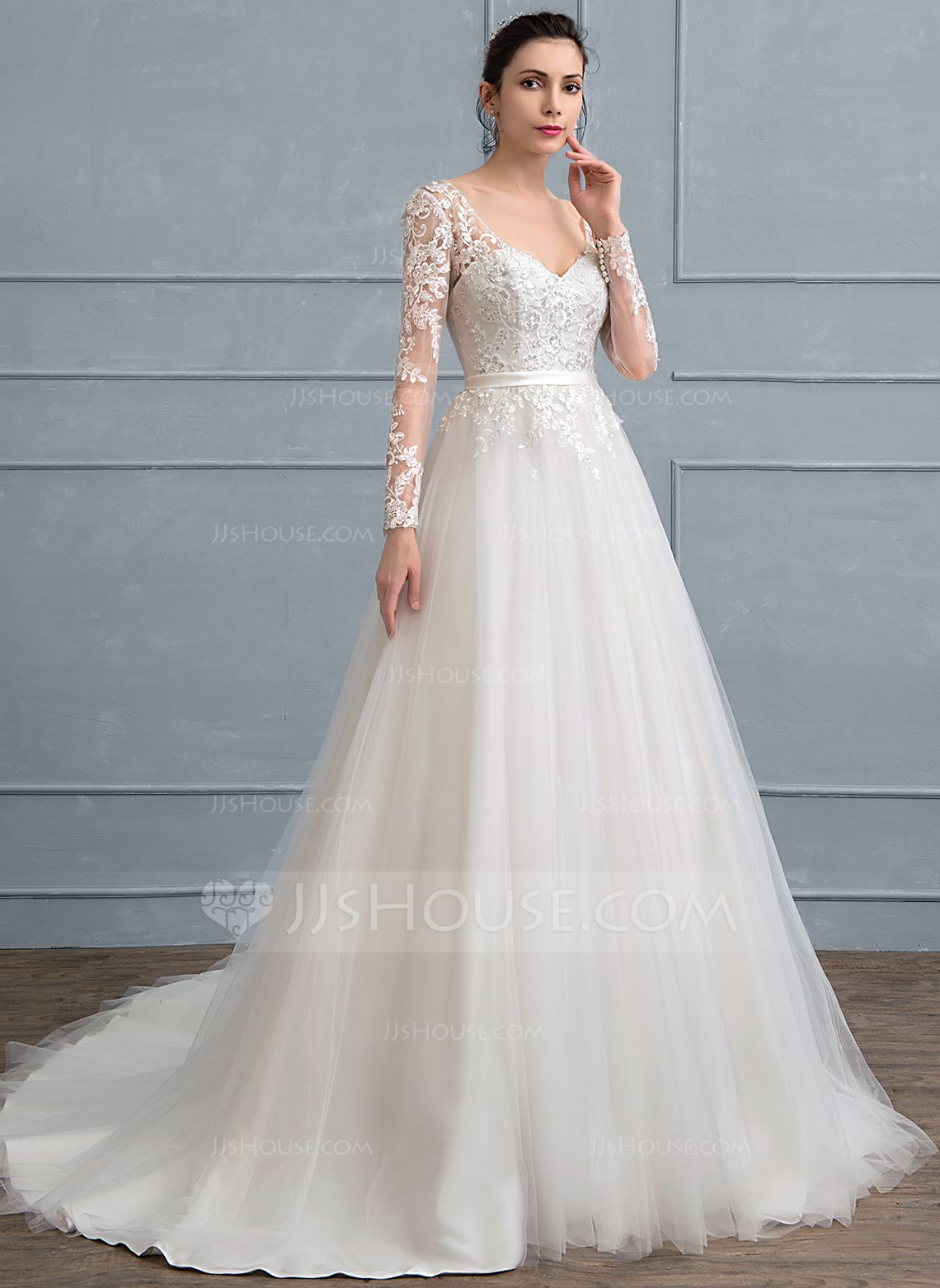 Us 203 00 Ball Gown V Neck Court Train Tulle Lace Wedding Dress With Sequins Jj S House Wedding Dresses Wedding Dresses Lace Online Wedding Dress