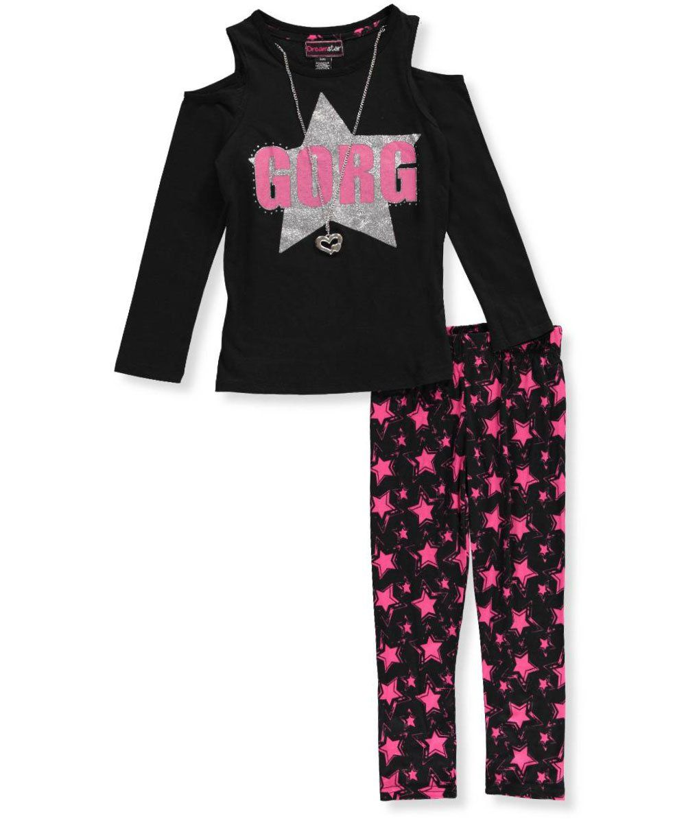 90351a22dd5b7 Dream Star Little Girls' 2-Piece Outfit with Necklace - black, 5-6 ...