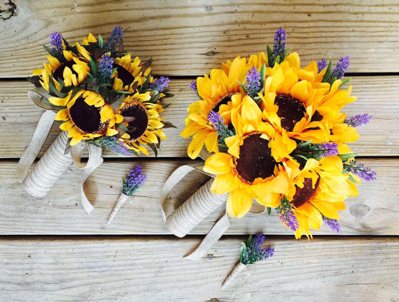 Free Shipping 17 Piece Sunflower Lavender Wedding Flower Set