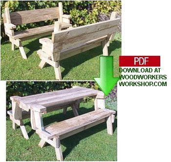 24 002   Folding Picnic Table And Bench Seat Combination (PDF) Woodworking  Plan