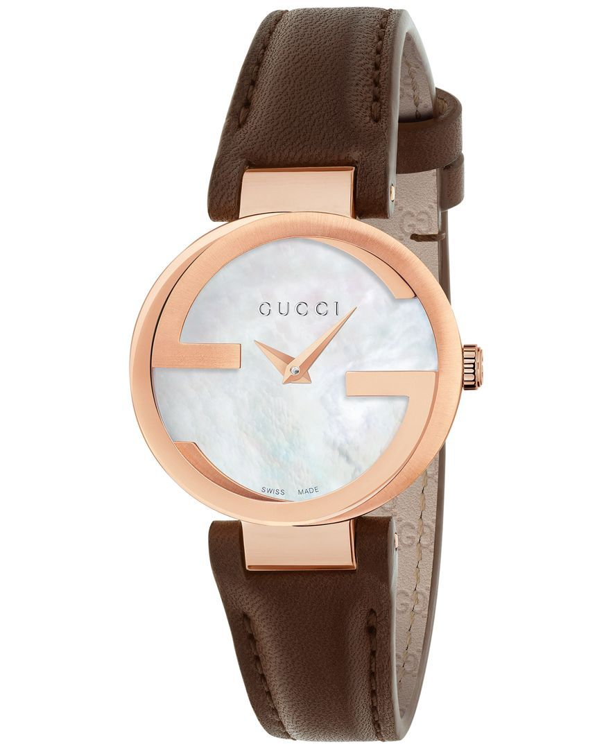 890be80d9c3 Gucci Women s Swiss Interlocking Brown Leather Strap Watch 29mm YA133516