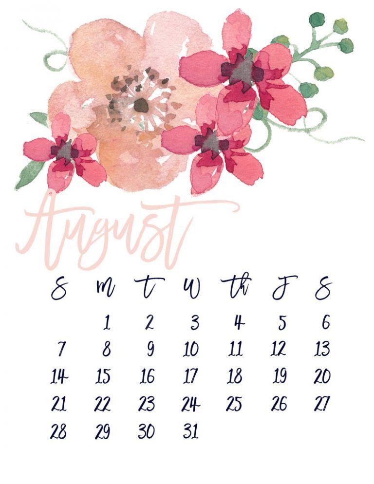 Print August 2018 Calendar Print August 2018 Calendar Pinterest