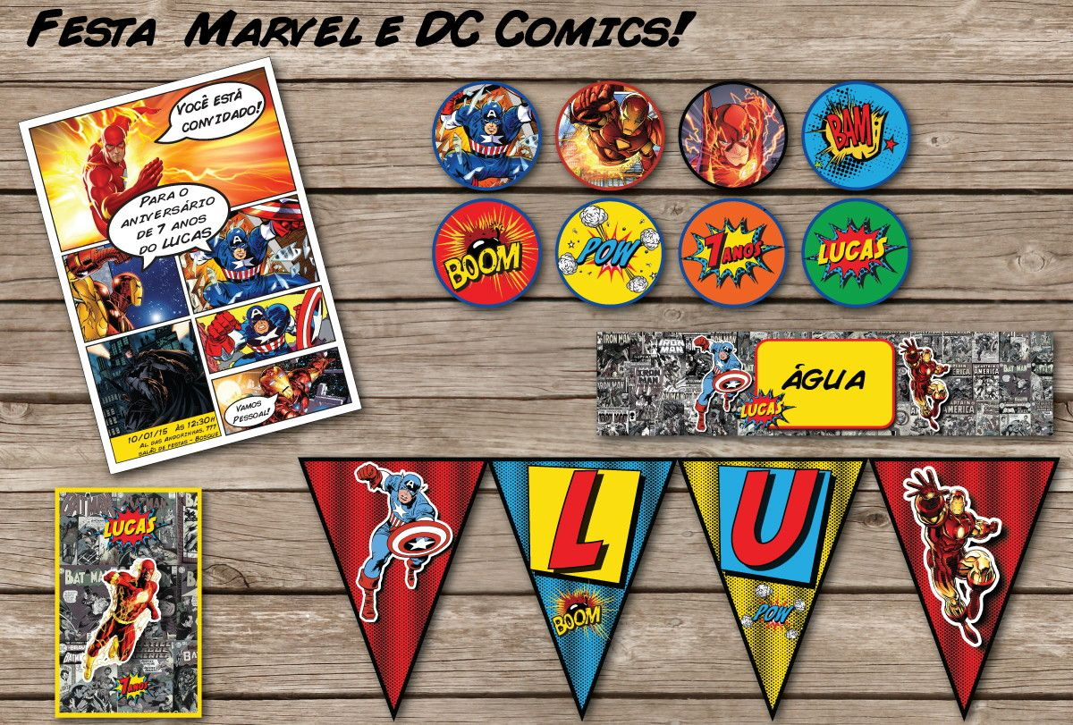 HQ DC Marvel Kit Festa MIX Super Herois | Bolle Blu Party - Itália | Elo7