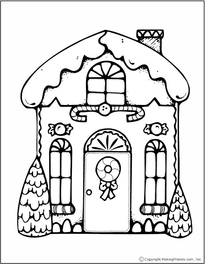 Printable Gingerbread Treat Bag Christmas Coloring Sheets House Colouring Pages Christmas Coloring Pages
