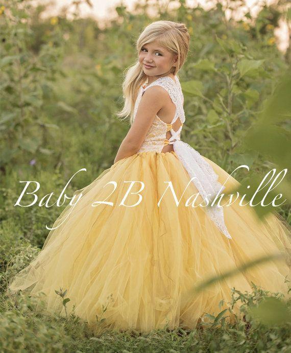 Amarillo Vestido de flor chica vestido Shabby Chic encaje vestido de ...