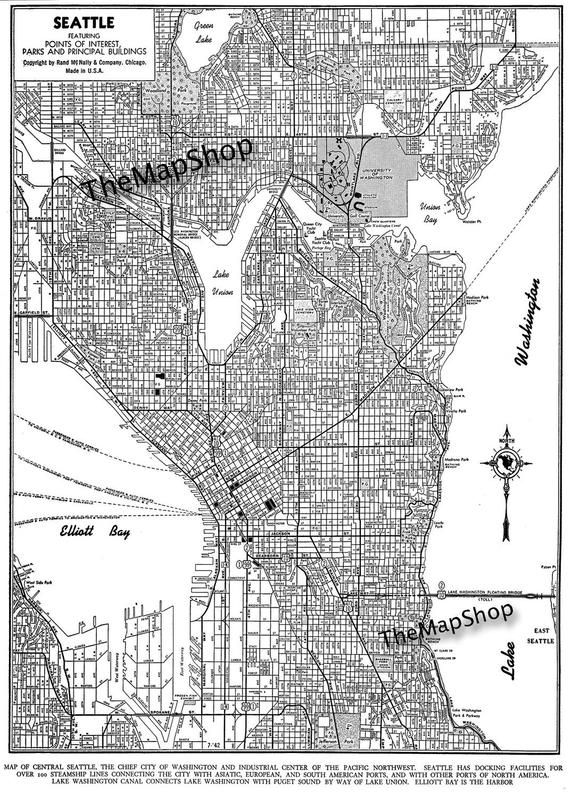 Seattle In Us Map.Seattle Map Art Poster Dark Gray Seattle Street Map In 2019