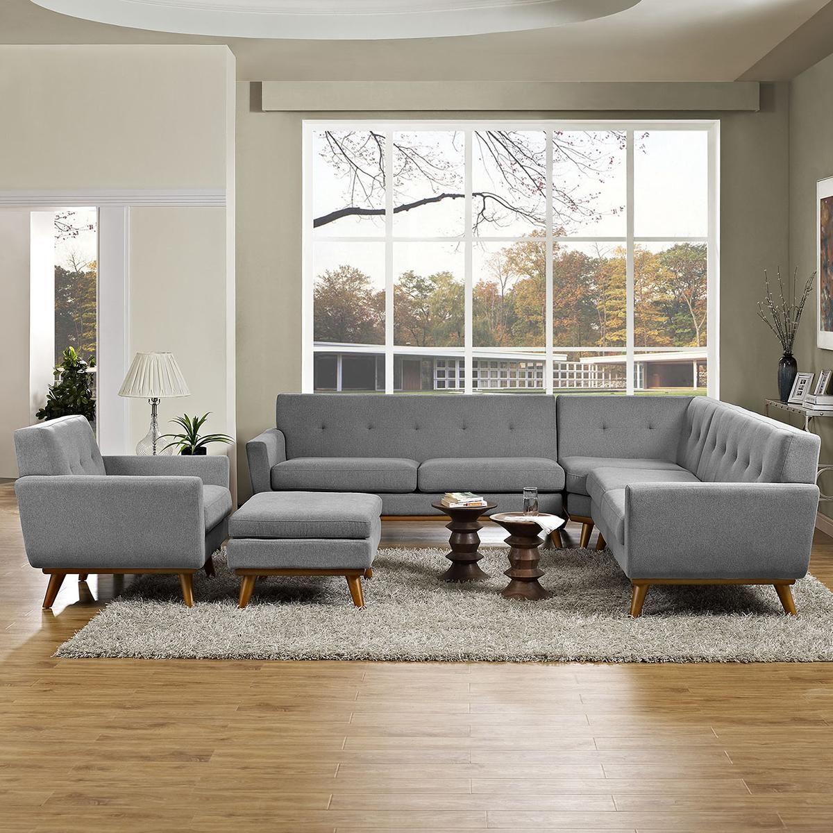 Modway Engage 5 Piece Living Room Set In Gray Nebraska Furniture