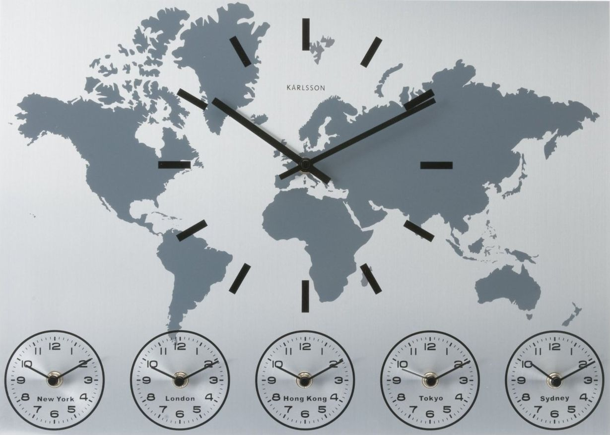 This sleek attractive brushed aluminium world clock tells the this sleek attractive brushed aluminium world clock tells the time simultaneously in new york gumiabroncs Choice Image