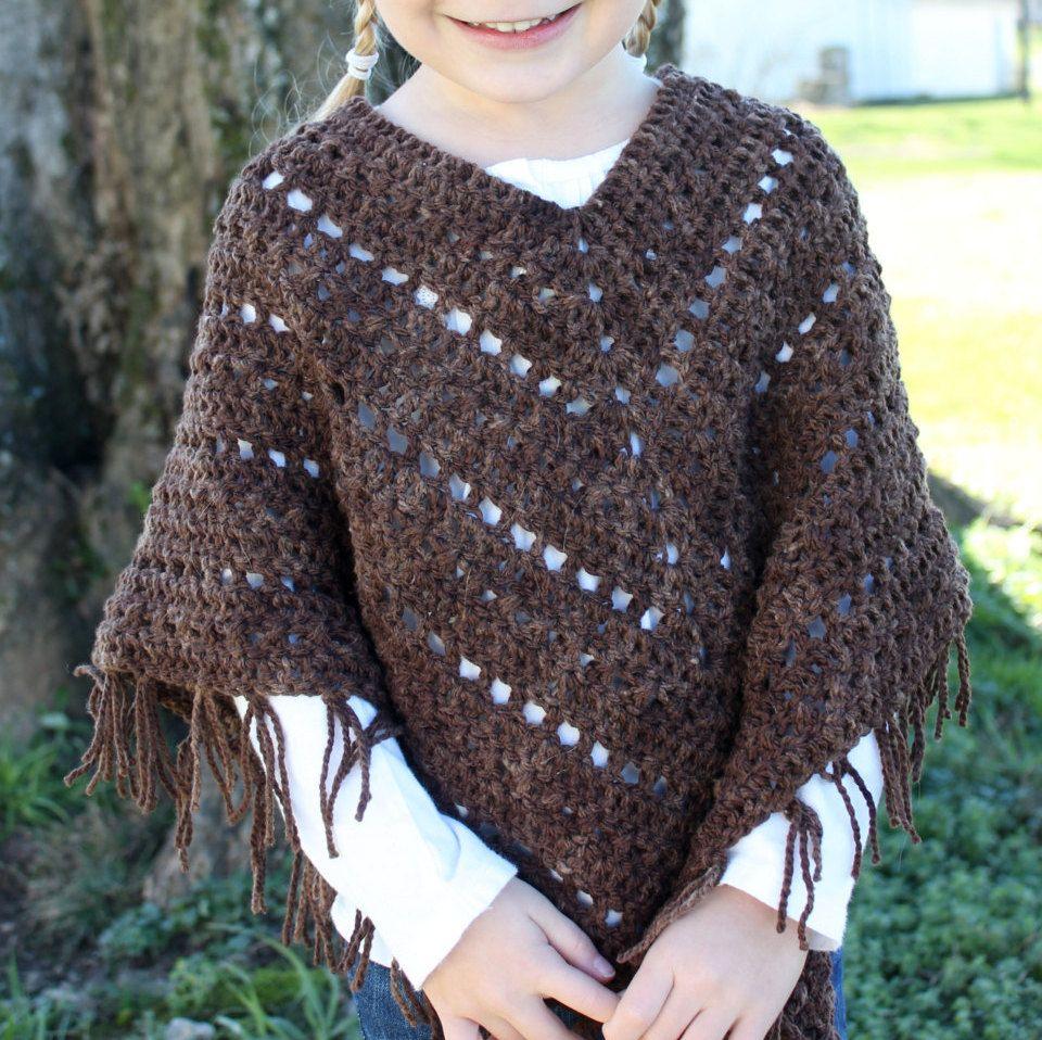 Crochet PATTERN poncho for matching doll and girls Poncho set - Boho ...