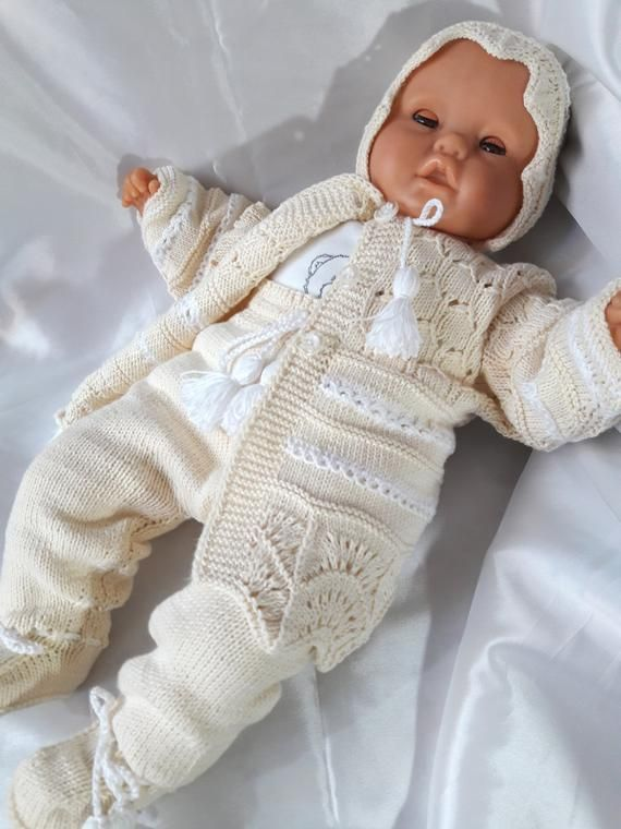 689df323fcc4 Newborn knit layette outfit,First baby outfit,Newborn unisex set,Knitted  baby set,Knitted baby cloth