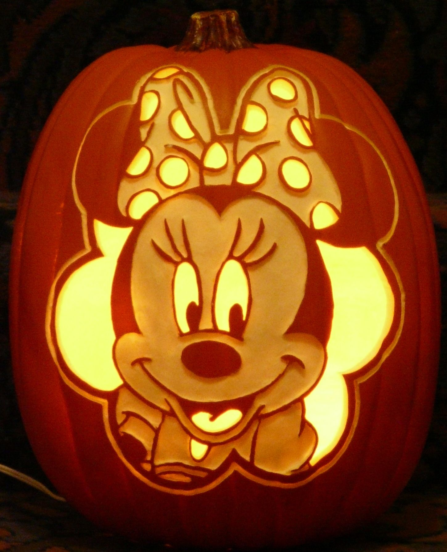 minnie mouse pattern by stoneykins com i carved on a foam pumpkin rh pinterest com  easy minnie mouse pumpkin carving template