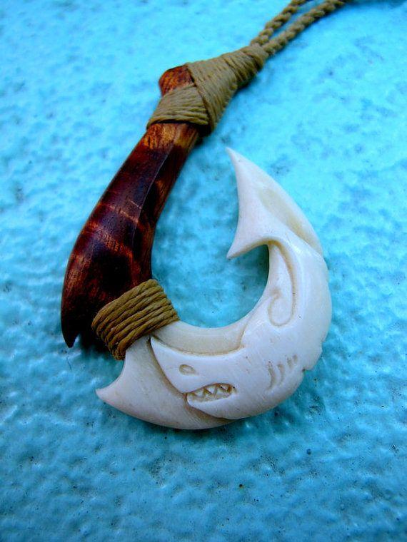 Hawaiian mano makau shark fish hook carving composite for Hawaiian fish hook