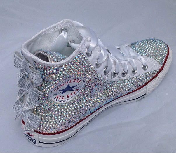 b4ef5c647b90 White High Top Sequin Bow Sparkled AB Rhinestone Crystal Converse Wedding  Prom