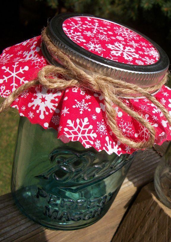 12 Red Christmas Jam Jar Covers Mason Jar Gifts Mason Jar Christmas Gifts Jar Gifts