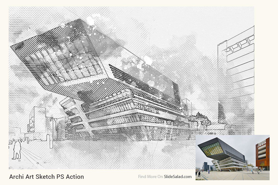 Archi Art Sketch Photoshop Action V2 With Images Sketch