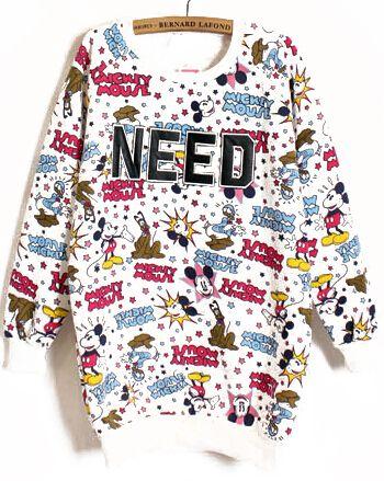 White Long Sleeve Mickey NEED Print Sweatshirt - Sheinside.com