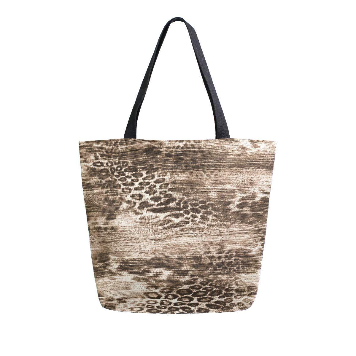 Top Handle Handbags Shoulder Tote Bag Leopard Animal Print Tote Washed Canvas Purses Bag for Women Girls
