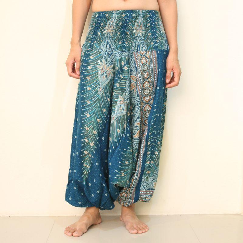 mejor selección 8a8f3 b6066 Pantalones Cagados Mujer Aqua Blue Pluma Del Pavo Real ...