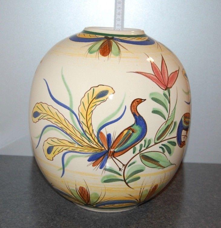 Groe Bauchiche Bay Keramik Vase 64 30 Handbemalt Blumen Vogel