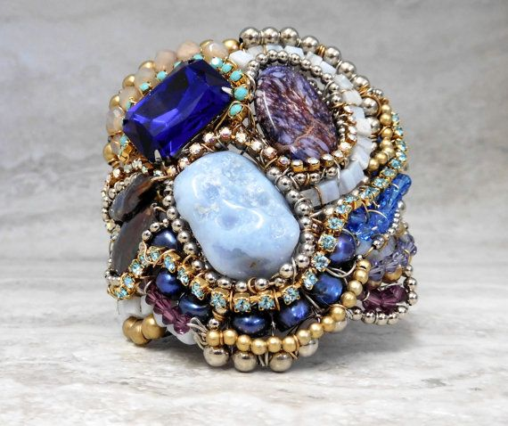 Unique One of Kind Cuff Bracelet with Rhinestones by SharonaNissan