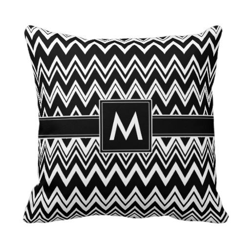 Zig-Zag Pattern with monogram - black white Pillows #monogrammed #initial #custom #customize #personalize