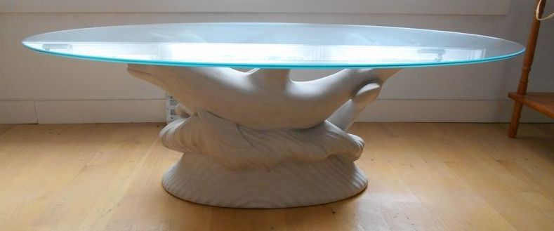 Whimsical Glass Top Oval Coffee Table W White Dolphin