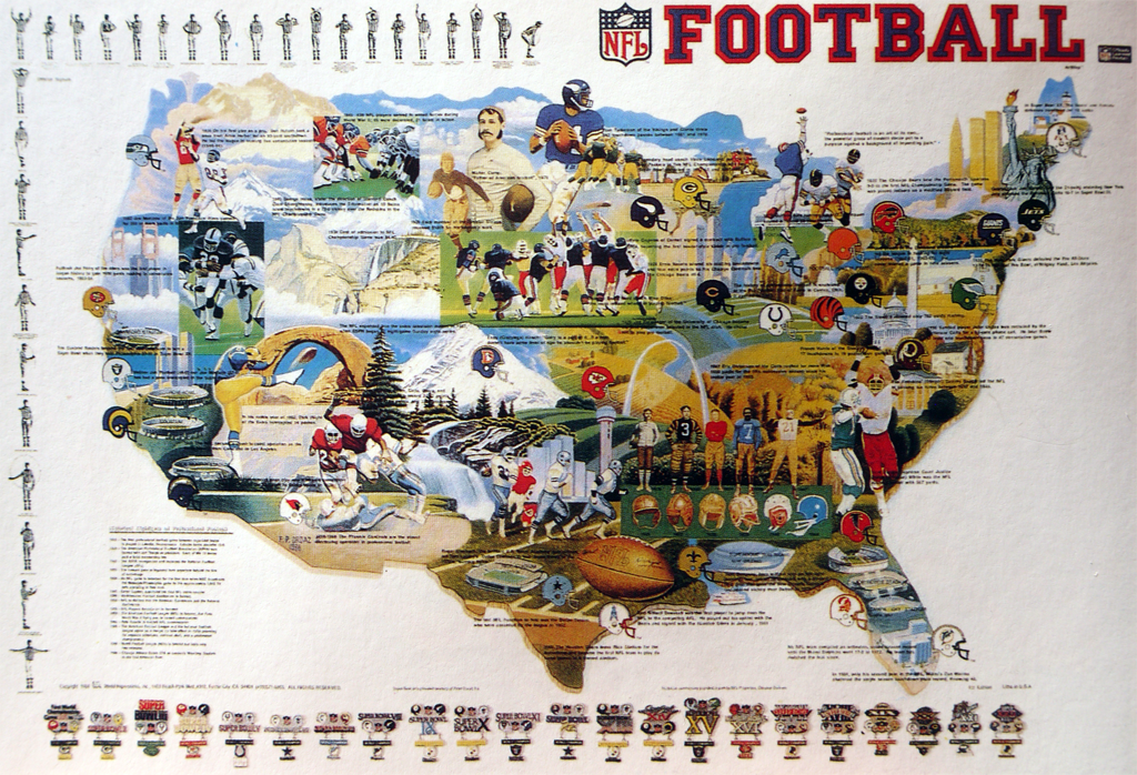 Pictorial NFL Football Map of the United States Baseball