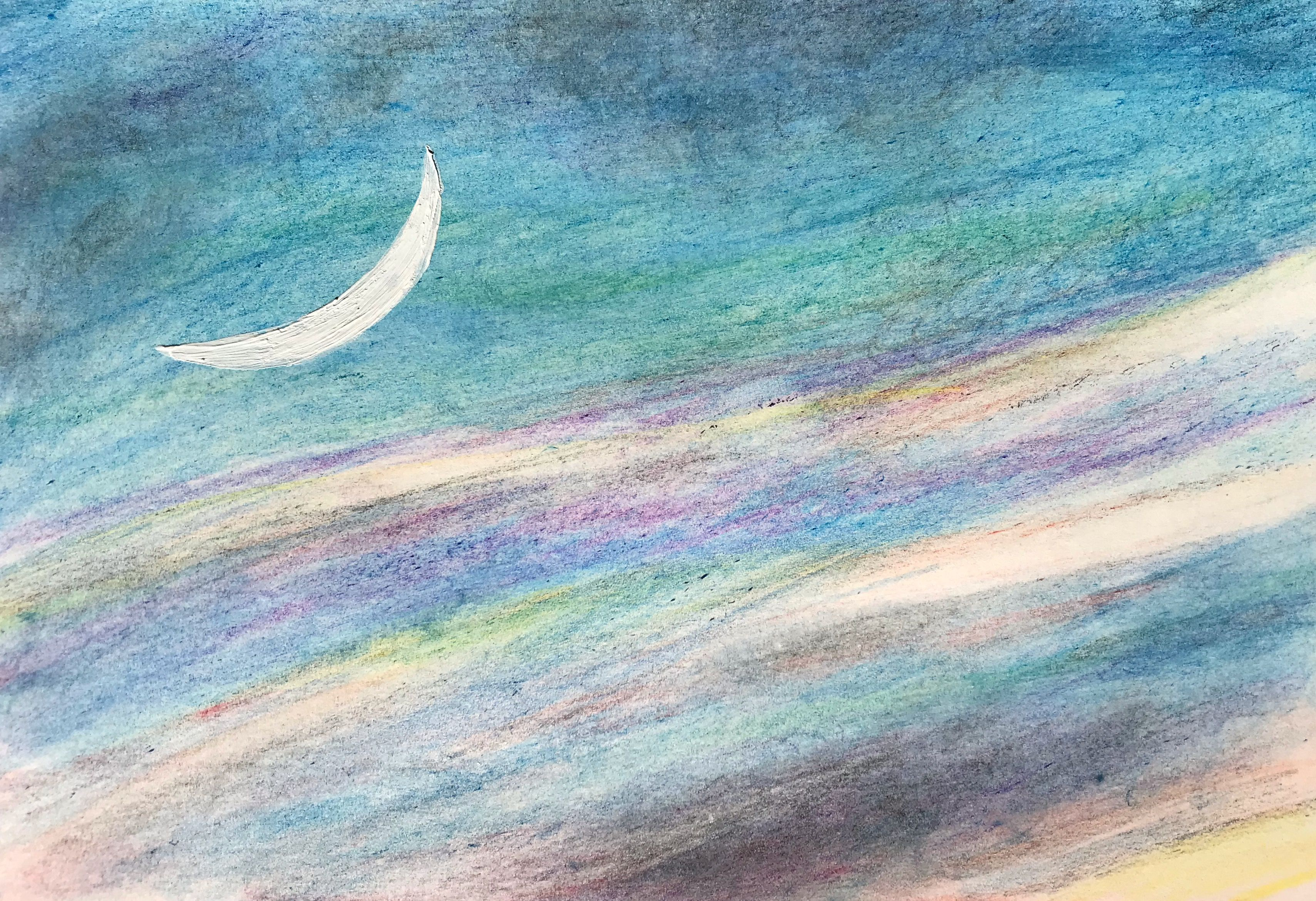 夕闇に、ゆらりゆらりと月の舟。